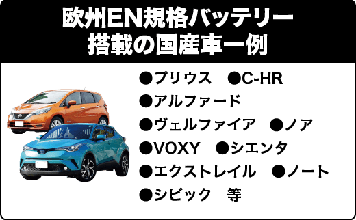 欧州EN規格バッテリー搭載の国産車一例