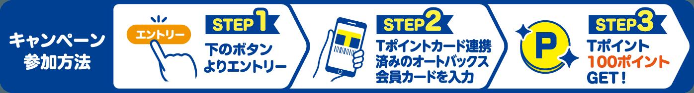 キャンペーン参加方法 STEP1:下のボタンよりエントリー STEP2:Tポイントカード連携済みのオートバックス会員カードを入力 STEP3:Tポイント100ポイントGET!